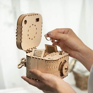 Image 4 - Robotime Rokr 3D Houten Puzzel Opbergdoos Wachtwoord Schatkist Model Building Kit Speelgoed Voor Kinderen LK502 Drop Shipping
