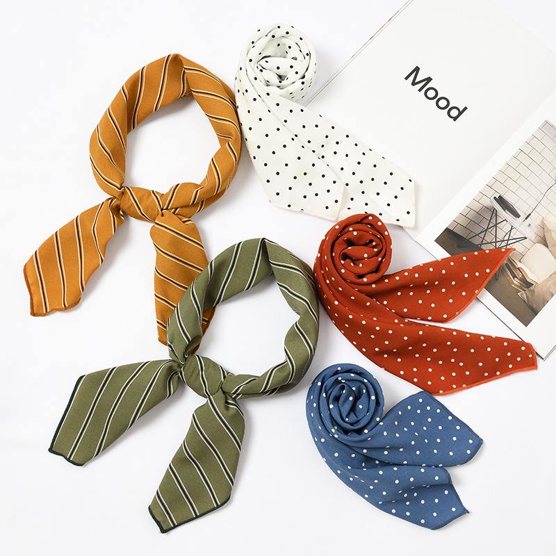 2019 New 70*70cm Chiffon Square Scarf Retro Small Scarf Light Polka Dot Stripes Cute Sweet Wind Autumn And Winter Small Scarf