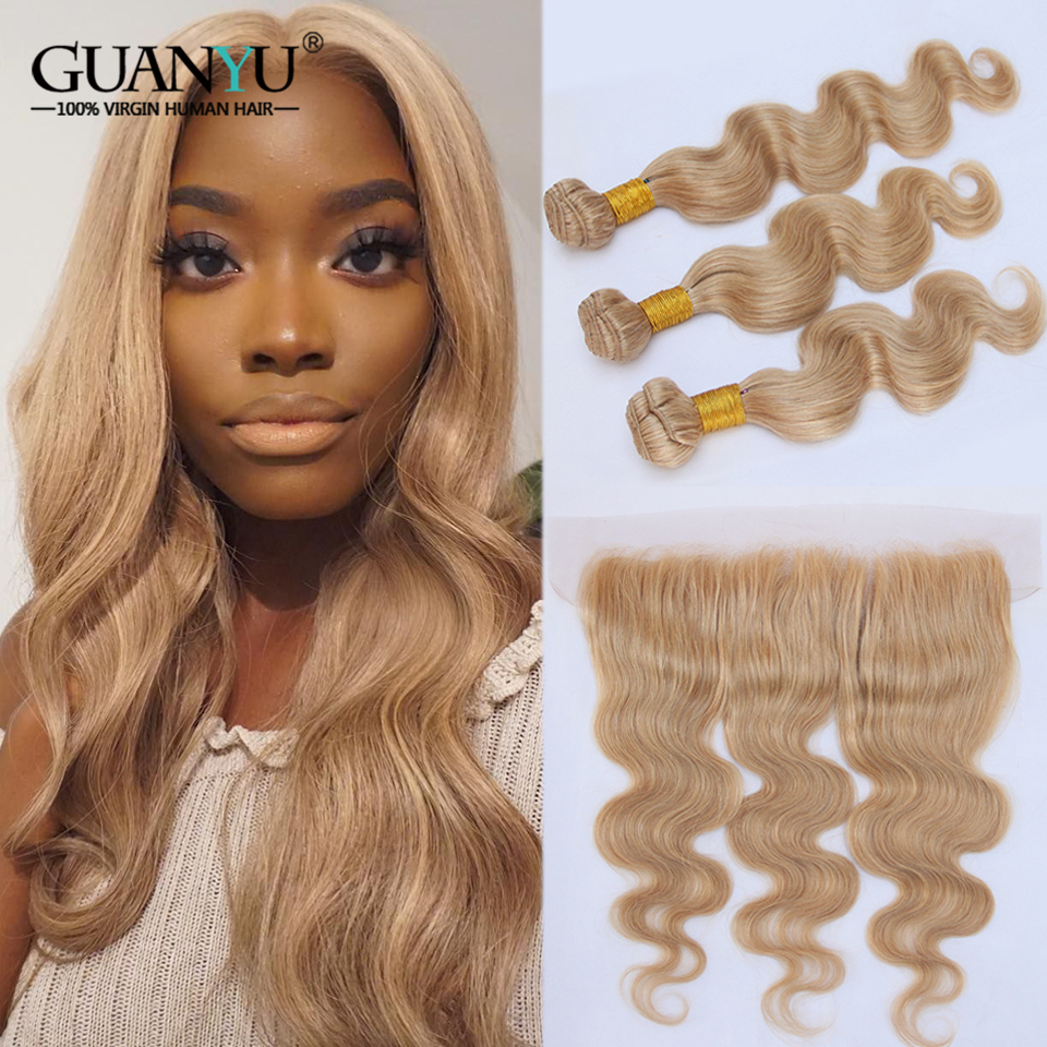 #27 Honey Blonde Bundles With Frontal Closure 13X4 Brazilian Non-Remy Human Hair Ear To Ear