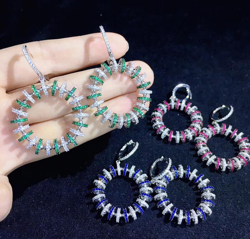 925 sterling silver with cubic zircon donut drop earring doughnut cute fashion women jewelry free shipping red green blue color