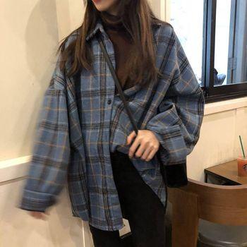 JuneLove Female Spring Street Blouse Shirts Vintage Oversized Plaid Flannel Boyfriend Tunic Shirt for Women Casual Korean Tops 5
