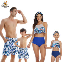 Beach Family Swimwear Ruffled Mother Daughter Bikini Swimsuits Mommy Dad And Me Matching Clothes Look Father Son Swimming Trunks leopard swimsuits family matching swimwear mother daughter bikini dad son swim trunks mommy and me family outfits look e0200