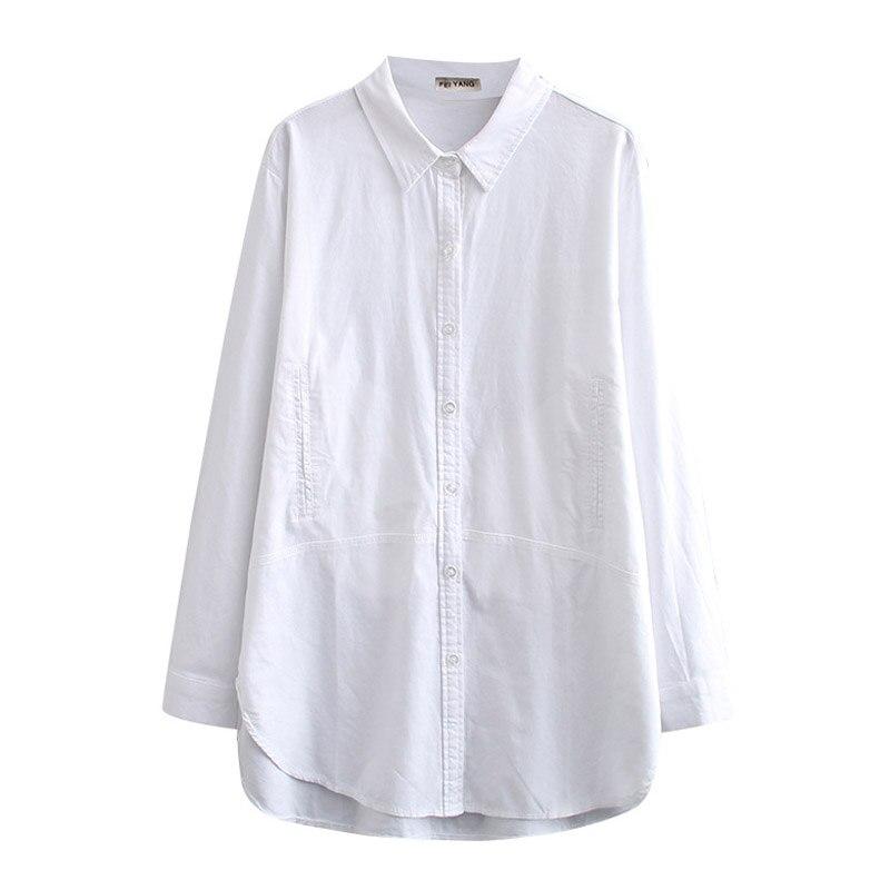 White Long Sleeve Blouse Shirt Women Oxford Shirts Pockets Loose Plus Size Casual Shirts Turn-down Collar KKFY4774 7