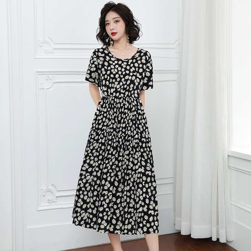 Dress 2020 Summer New Women's Cotton Dress Elegant Loose Large Size O-neck Print Dress Female Size XL-5XL