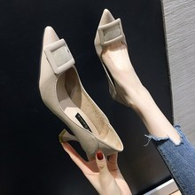 EOEODOIT Women Leather Heels Pumps Fashion Spring Autumn Pointed Toe Square Buckle Slip On High Kitt