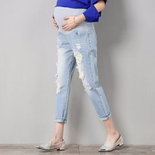 цена на Jeans Maternity Comfortable Blue Cotton Denim Pants Pregnant Women Clothes Trousers Nursing Pregnancy Clothing Overalls high kid