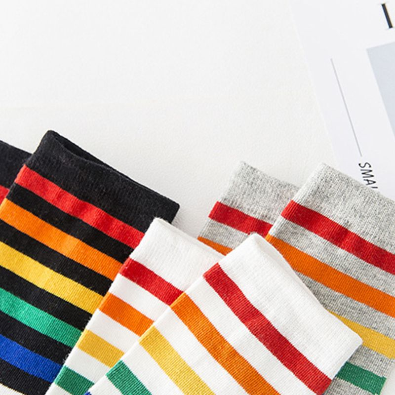 Women Teen Girls Harajuku Rainbow Striped Crew Socks Preppy Style Hip-Hop Skateboard Cotton Novelty Sports Short Tube Hosiery