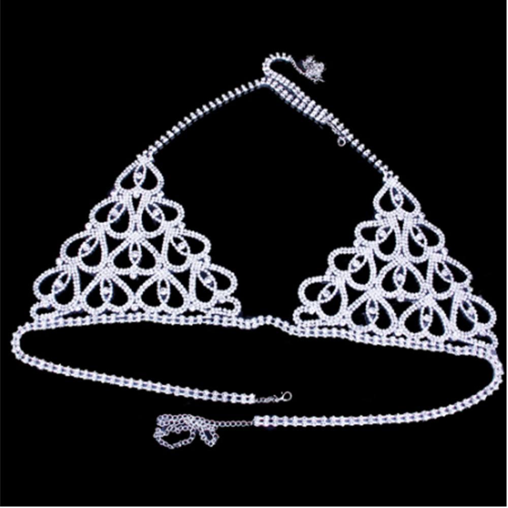 Luxury Lingerie Crystal Belly Body Chain Bra Thong Set Showgirl Sexy Glam Rhinestone Body Jewelry Bra knickers Panties Valentine 2