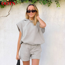 OOTN Gray Hoodies And Shorts Suit 2 Piece Set Women Summer Sleeveless Pullover L