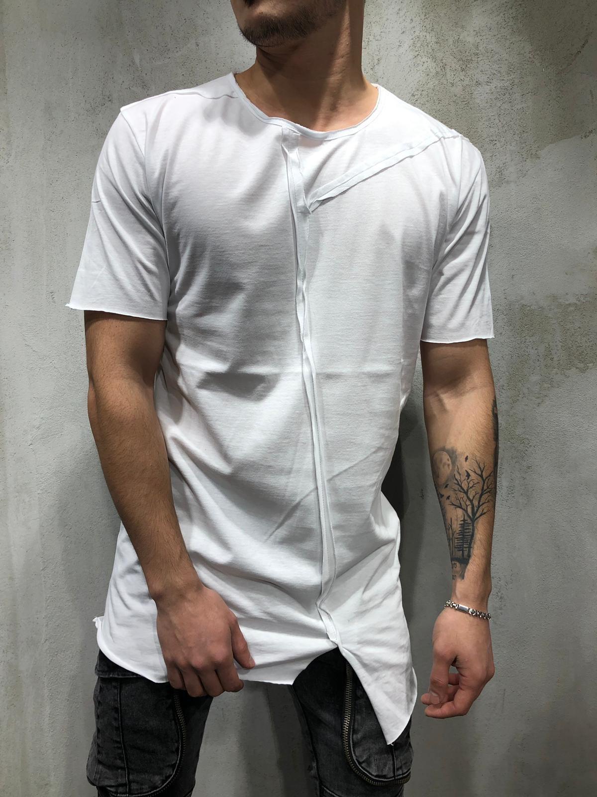 E-BAIHUI Men's Personality Streetwear T-shirt Summer Casual Stitching Hip Hop T-shirt Short-sleeve Round Neck T-shirt Male Q0807