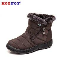 Koznoy Snow Boots Winter Warm Short Plush Fashion Dropshipping Round Toe Flat Bottom Solid Metal Decoration Causal Women Boots