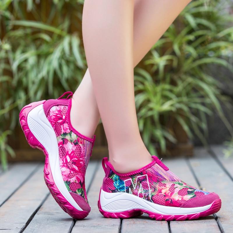 Tênis de Fitness Luz ao ar Tenis Feminino Mujer Mulher Tênis Plataforma Livre Jogging Ginásio Esporte Sapatos 5 2020
