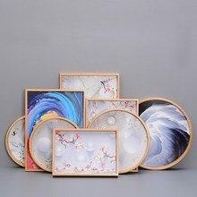 Нордический бамбуковый поднос прямоугольный чайный поднос с ручной росписью цветная Тарелка обеденная тарелка для гостиницы японская деревянная чашка тарелка