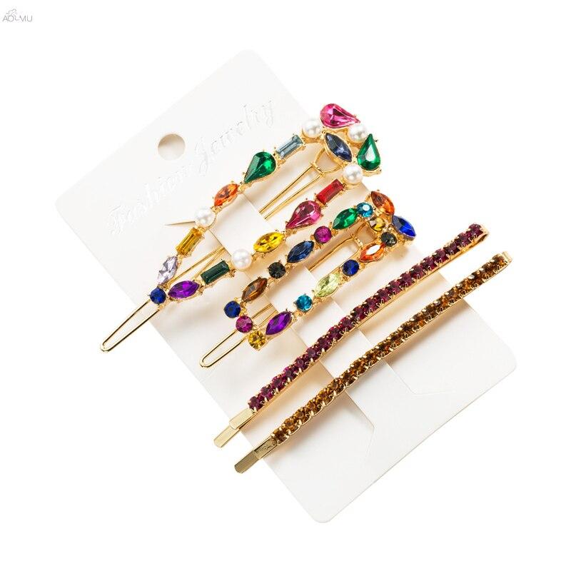 AOMU 1SET Korea Shiny Crystal Hairpins Women Geometric Waterdrop Colorful Rhinestones Hair Clips For Girls Hair Accessories