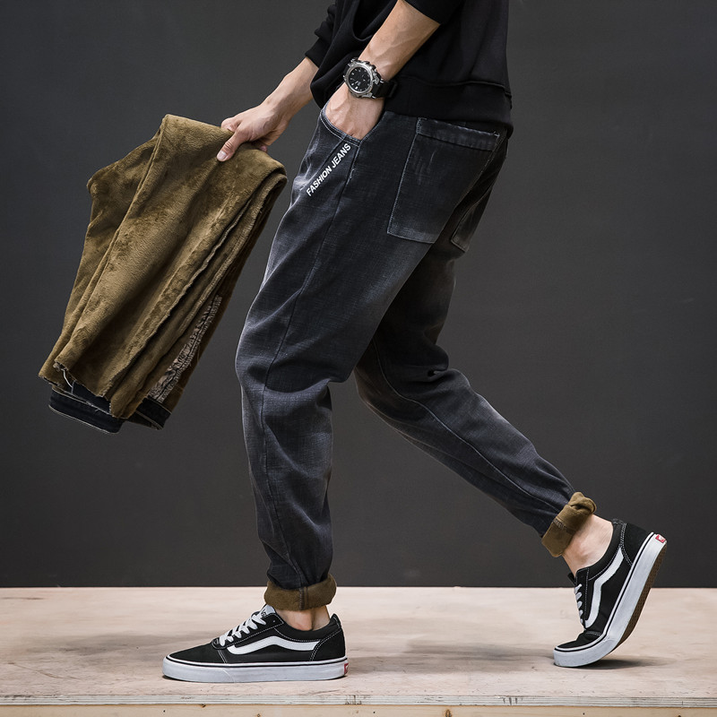 2019 New Hot Winter Men's Plus Velvet Thick Jeans Velvet Trousers To Keep Warm And Cold Trousers High Quality Casual Feet Pants
