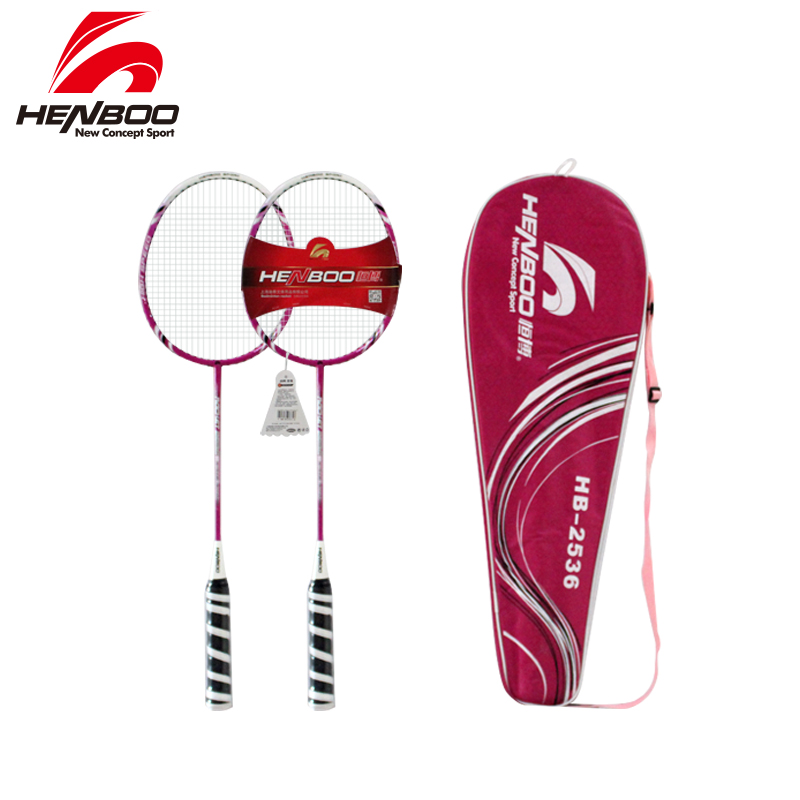 HENBOO Standard Use Badminton Racket Set Best Aluminum Alloy Family Double Professional Badminton Racket Lightest Badminton 2536