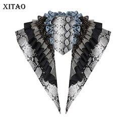 XITAO Druck Muster Krawatten Mode Rüschen Patchwork 2020 Frühjahr Kleine Frische Casual Göttin Fan Plissee Stil Krawatten Top DMY3919