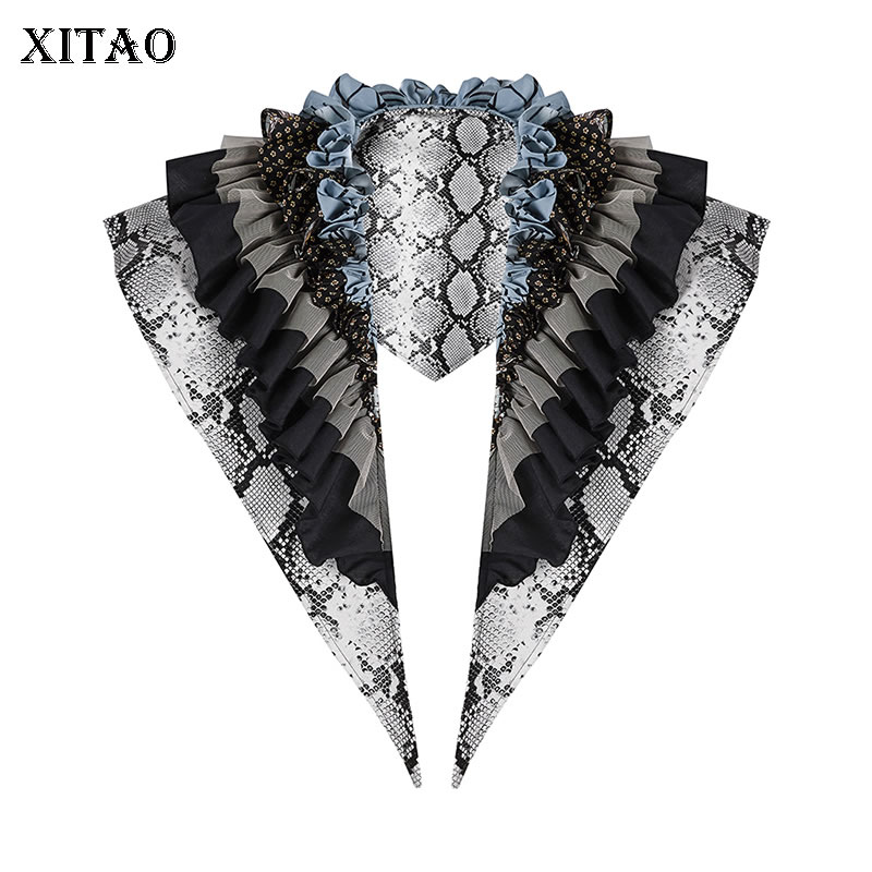 XITAO Print Pattern Ties Fashion Ruffle Patchwork 2020 Spring Small Fresh Casual Goddess Fan Pleated Style Ties Top DMY3919