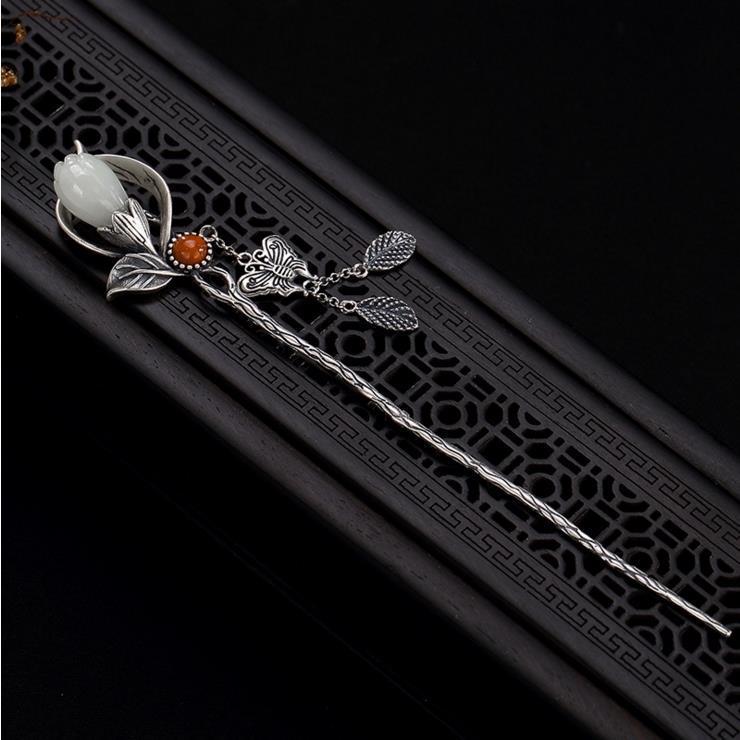 Exclusive original design magnolia flower hairpin pendant Chinese style retro light luxury charm women's silver jewelry