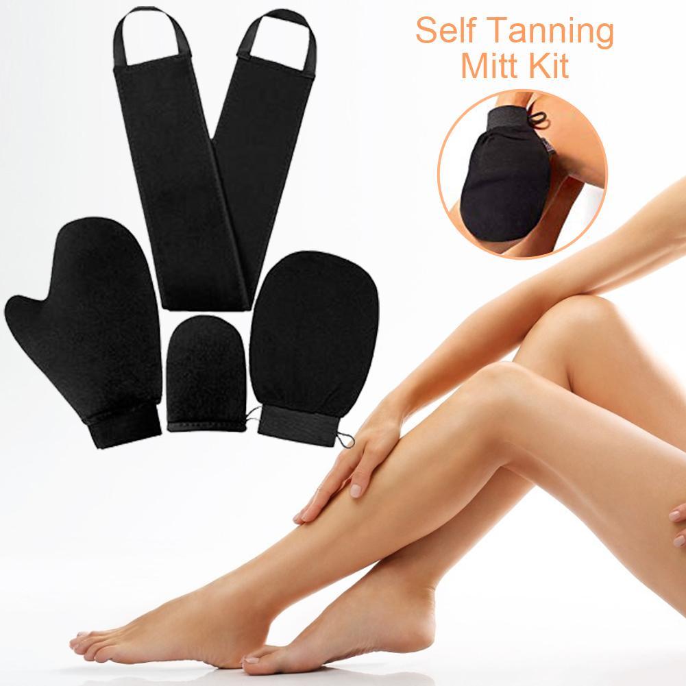 4PCS Self Tanner Mitten Applicator Kit Exfoliating Bath Towel Oiling Sunscreen Spa Gloves Back Lotion Applicators Tanning