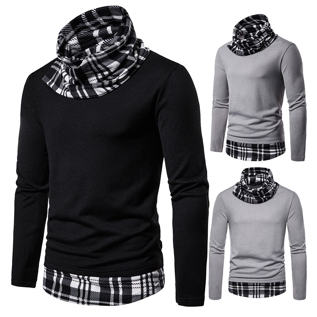 Men's Knitted Turtleneck Sweater Fashion Autumn Black And White Checked Sweaters Casual Male Fake Two Pieces Knitwears Pullovers