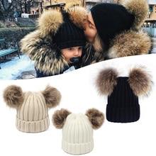 Зимние вязаные шапки с двойным помпоном, вязаные шапки, теплые шапки-бини для женщин, эластичные мягкие детские спортивные шапки
