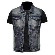 Chaleco estilo Punk Vintage para hombre, chaqueta vaquera de motociclista de primavera y verano para hombre, chaqueta vaquera sin mangas de algodón informal para exteriores