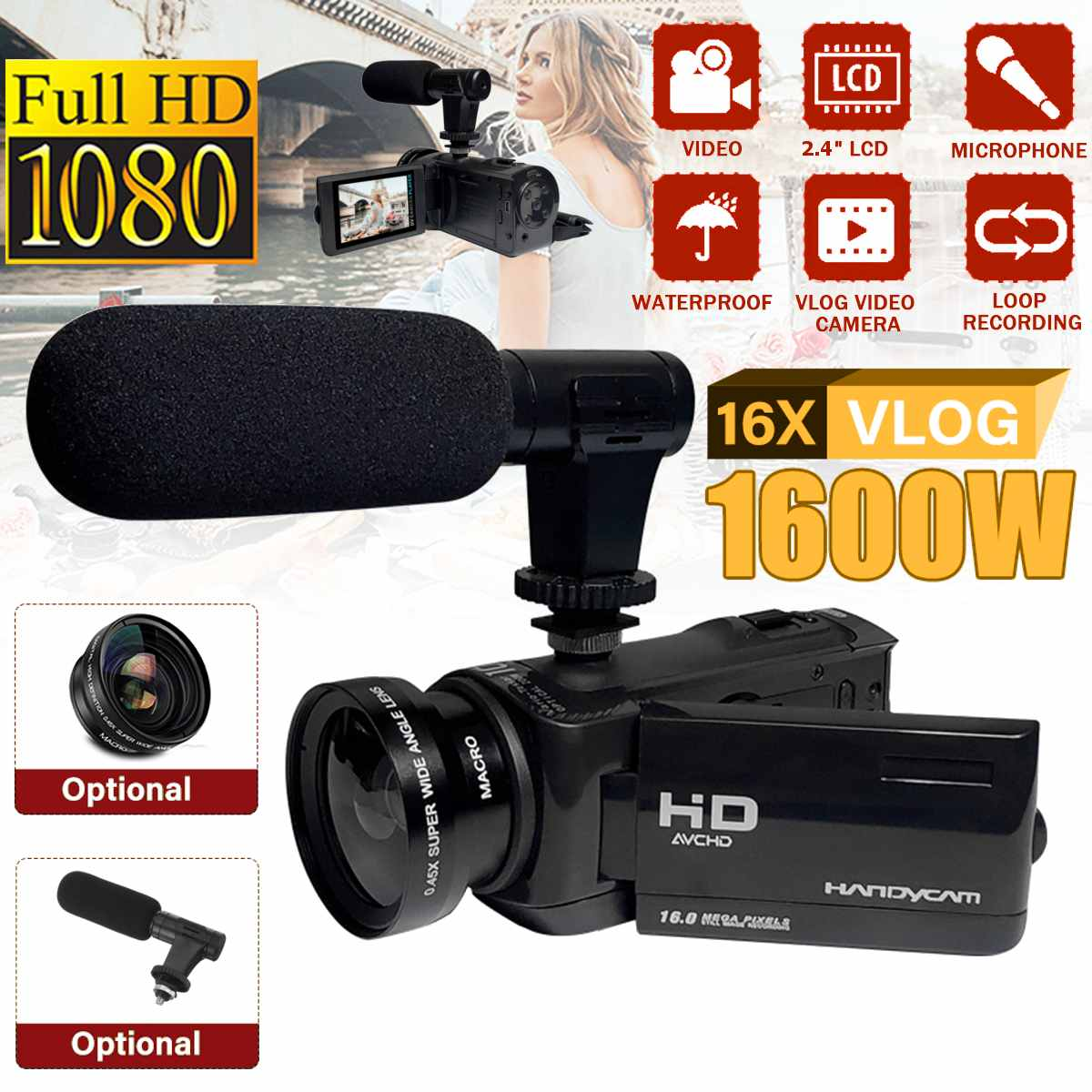 Modest Professional 1080p Hd Camcorder Video Camera Night Vision 2.4 In Lcd Screen Camera 16x Digital Zoom Camera With Microphone