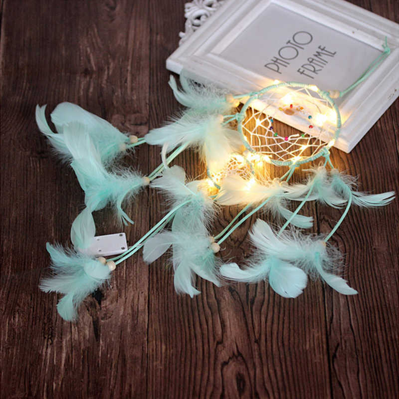 Fairy LED Light Feather Beads Dream Catcher Princess Bedroom Wall Hanging Decor