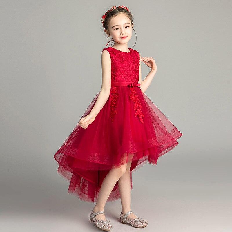 Princess Dress Girls Puffy Yarn Flower Boys/Flower Girls Wedding Dress Children Catwalks Evening Gown Small Host Piano Costume A