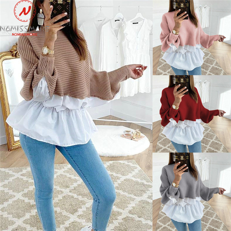 Fashion Women Hoodies For Streetwear Patchwork Design O-Neck Batwing Sleeve Top Elegant Lady Autumn Winter Casual Loose Shirts
