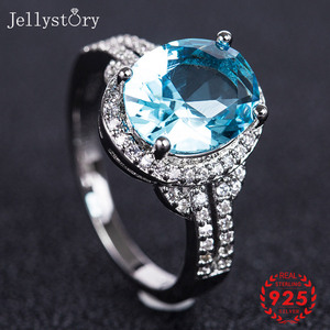 Jellystory Classic Silver 925 Jewelry Rings with Oval Shaped Sapphire Ruby Amethyst Gemstones Women Ring Wedding Gifts size 6-10(China)