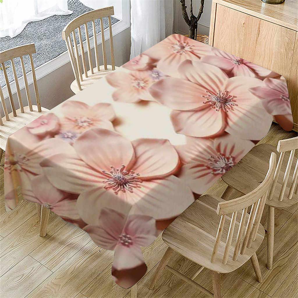 Mantel de mesa de flores 3D Primeval Rectangular cubierta de mesa de té comedor hogar Decoración para boda cumpleaños mesa cubierta de té paño de mesa