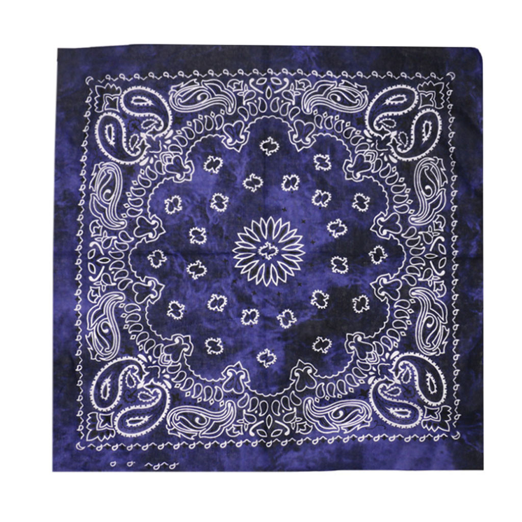 Vintage Square Pure Cotton New Tie-dyed Headscarf Paisley Scroll Bandanna Tie-dyed Square Neck Scarf Wristband  Pocket Towel