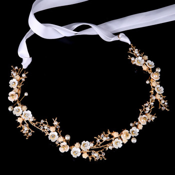Золотая/серебристая лента с цветком, повязка на голову для женщин и девушек, головной убор для невесты, свадебные украшения для волос, аксессуары SL