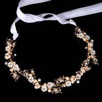 Gold Silber Blume Perle Band Stirnband Haar band Frauen Mädchen Kopfstück Braut Tiaras Hochzeit Braut Haar Schmuck Zubehör SL