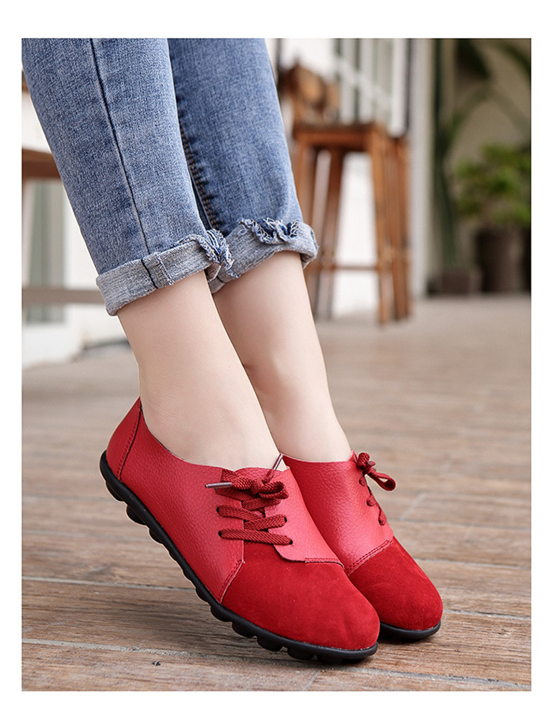 2019 New Leather Women Plus Size Sewing Flats Moccasins Loafers Ballet Flats Women Comfortable Soft Casual Shoes Ladies VT634 (20)