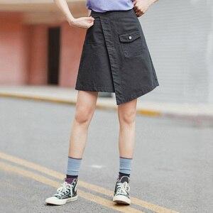 Image 3 - INMAN 2020 Summer New Arrival Literary Pure Cotton Irregular High Waist Pure Color Temperament A line Skirt