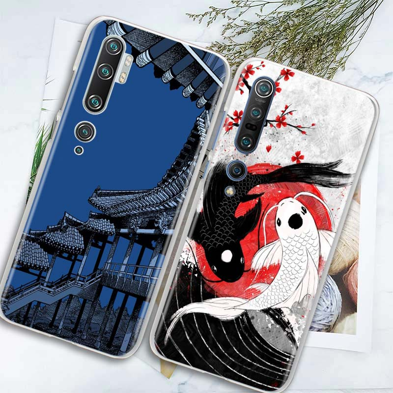 Japan Koi Fish Cherry Hard PC Phone Case For Xiaomi Mi 10 Lite 5G 8 9 9T CC9 CC9E A1 A2 Lite Poco X2 F1 Note 10 Pro Cover Couqe