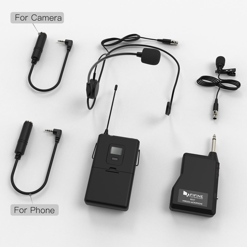 Fifine 20-Channel UHF1/4'' Inch Output wireless microphone with lavalier & headset mic suit for speaker cell phone  camera K037B