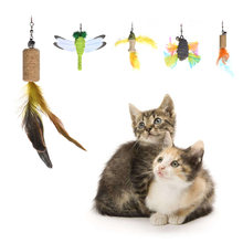 5 uds Cat Teaser Chaser pluma de repuesto colorido Pet Catcher Wand Stick pluma recarga con campana juguetes interactivos para gatos(China)