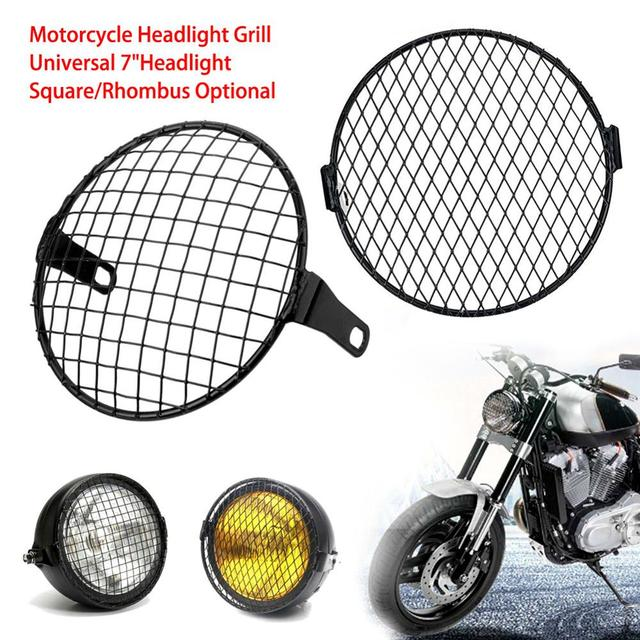 7'' Motorcycle Headlight Metal Mesh Grill Mask Protector Guard Side Mount Cover For Honda