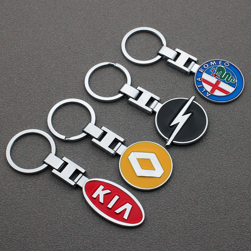 3D Metal Car Styling Keychain Key Chain Key Rings For Fiat BMW Audi Volkswagen Mitsubishi Chevrolet Audi Ford Nissan KIA Peugeot