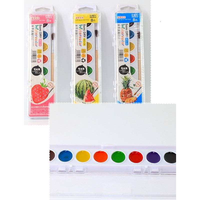 8 Colors Solid Watercolor Paint Set Washable Semi-dry Watercolor Children's Non-toxic Graffiti Painting Gouache Pigment
