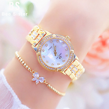 Oglądaj kobiety luksusowej marki 2020 moda Rose złoty diament kryształ panie zegarki zegarek na rękę ze strasów kobiety bajan Kol Saati