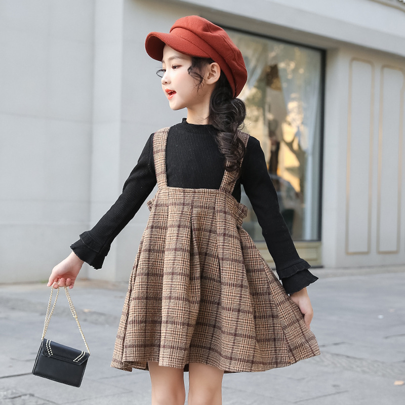 Spring 2020 Teen Girls Clothing Set Suits Children Kids Clothes Toddler Girls Fall Outfits Long Sleeve Sweater + Plaid Skirts 12