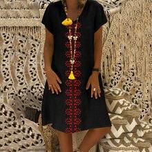 Algodão de linho vestidos de verão feminino flora vintage vestidos impressos com decote em v casual vestido tamanhos grandes vestidos longos de verao
