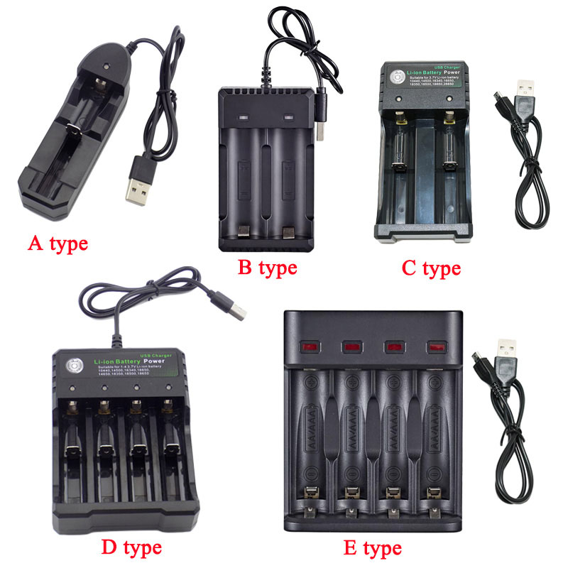 USB Rechargeable Battery charger 18650 14500 AA AAA 1.2V 3.7V Li-ion Fast 1/2/3 port Slot 18350 Batteries charging image