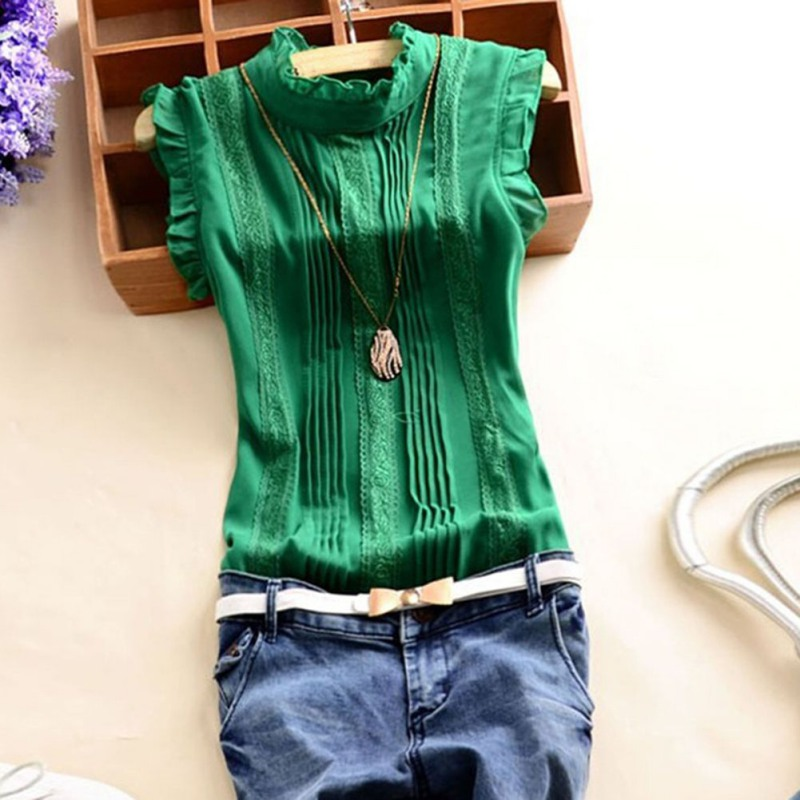 Womens Tops And Blouses Office Lady Casual Summer Blouse Top Retro Women Reffle Shirt Chiffon Blouse S-XL X
