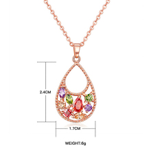 Newest Top Quality Cubic Zirconia Champagne Gold-Color CZ Flower Round Pendant Necklaces For Women Lady Girls Xmas Gift